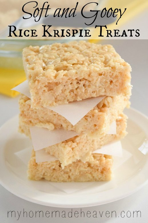 Soft and gooey rice krispie treats my homemade heaven for How do you make rice crispy treats